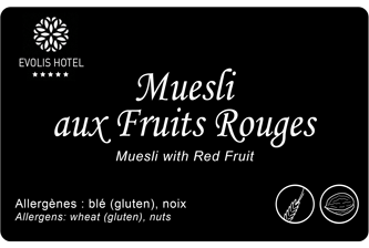Edikio Guest - Hospitality & Leisure - Muesli - Buffet tag sample card