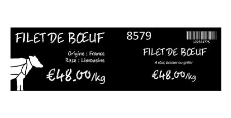 Edikio Duplex - Exemple d'étiquettes de prix recto-verso
