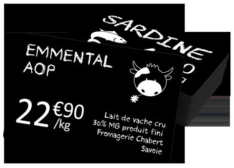 étiquettes de prix pour les commerces